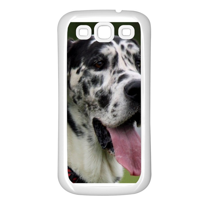 Great Dane harlequin  Samsung Galaxy S3 Back Case (White)