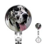 Great Dane harlequin  Stainless Steel Nurses Watch Front