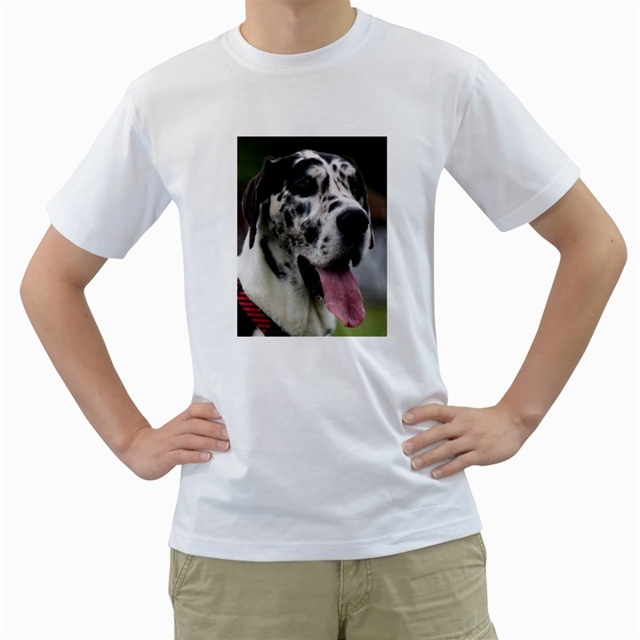 Great Dane harlequin  Men s T-Shirt (White)