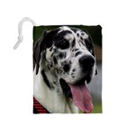 Great Dane harlequin  Drawstring Pouches (Medium)  Back