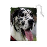 Great Dane harlequin  Drawstring Pouches (Large)  Front