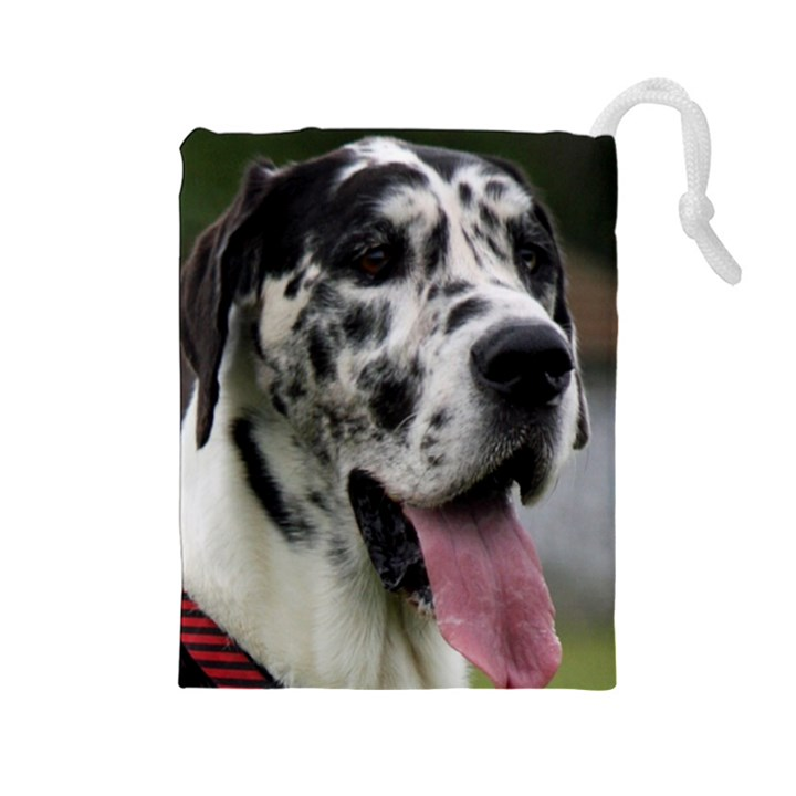 Great Dane harlequin  Drawstring Pouches (Large)