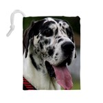 Great Dane harlequin  Drawstring Pouches (Large)  Back