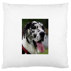 Great Dane harlequin  Large Flano Cushion Case (One Side)