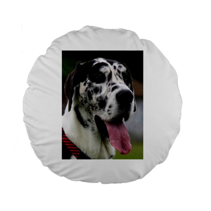 Great Dane harlequin  Standard 15  Premium Flano Round Cushions