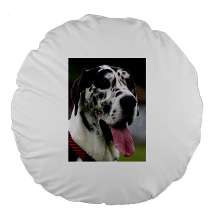 Great Dane harlequin  Large 18  Premium Flano Round Cushions