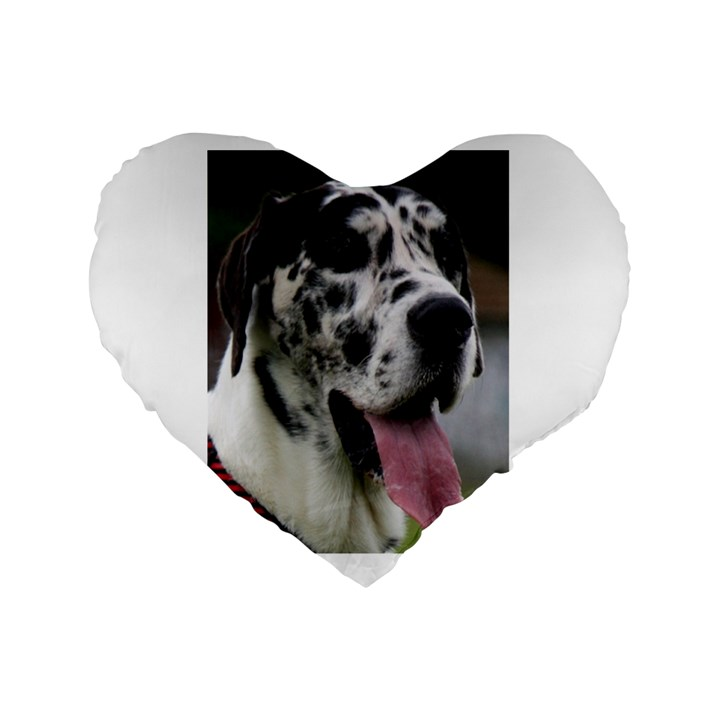 Great Dane harlequin  Standard 16  Premium Flano Heart Shape Cushions