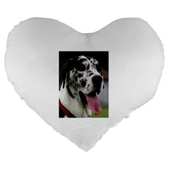 Great Dane harlequin  Large 19  Premium Flano Heart Shape Cushions