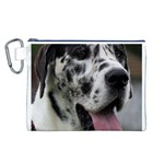 Great Dane harlequin  Canvas Cosmetic Bag (L) Front