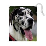 Great Dane harlequin  Drawstring Pouches (Extra Large) Front