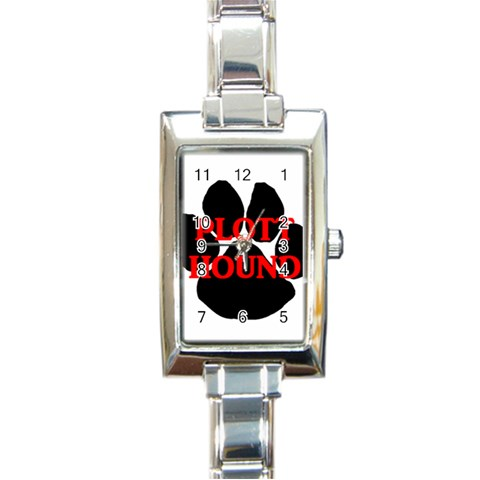 Plott Hound Name Paw Rectangle Italian Charm Watch