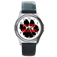 Plott Hound Name Paw Round Metal Watch