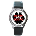 Plott Hound Name Paw Round Metal Watch Front