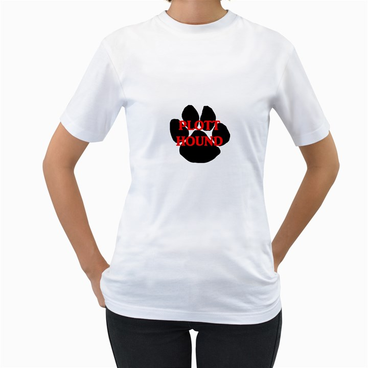 Plott Hound Name Paw Women s T-Shirt (White) (Two Sided)
