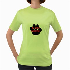 Plott Hound Name Paw Women s Green T-Shirt