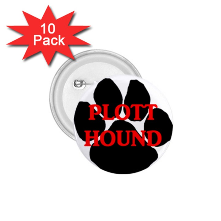 Plott Hound Name Paw 1.75  Buttons (10 pack)