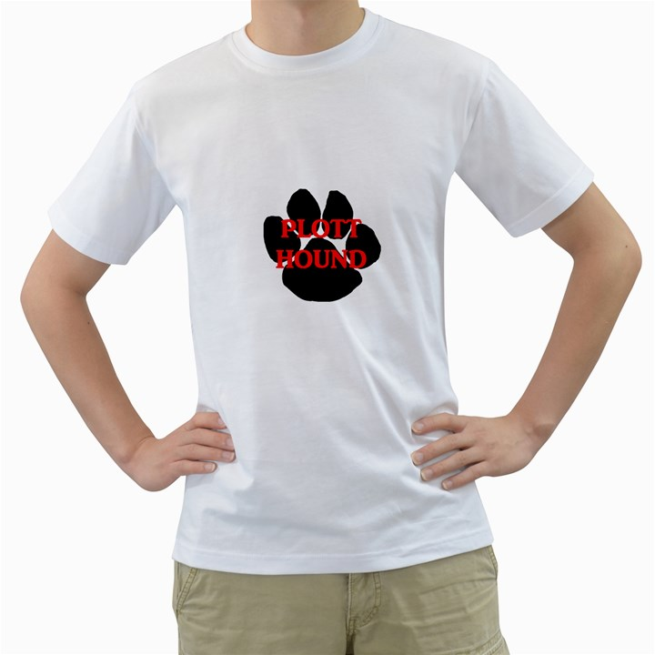 Plott Hound Name Paw Men s T-Shirt (White) (Two Sided)