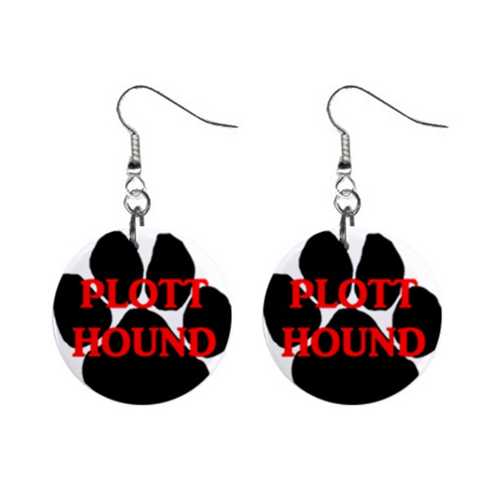 Plott Hound Name Paw Mini Button Earrings