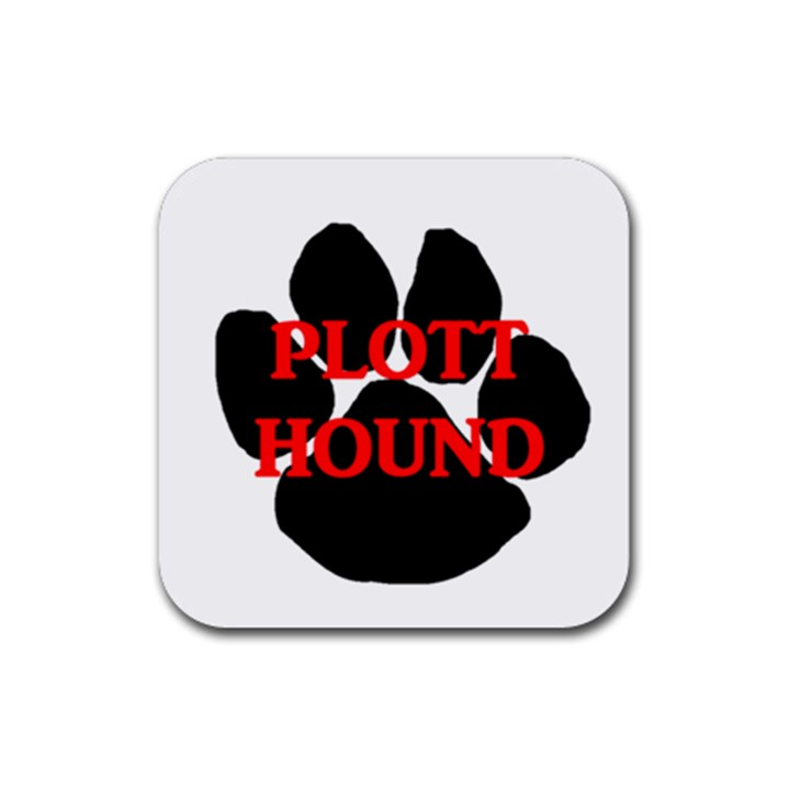 Plott Hound Name Paw Rubber Square Coaster (4 pack)