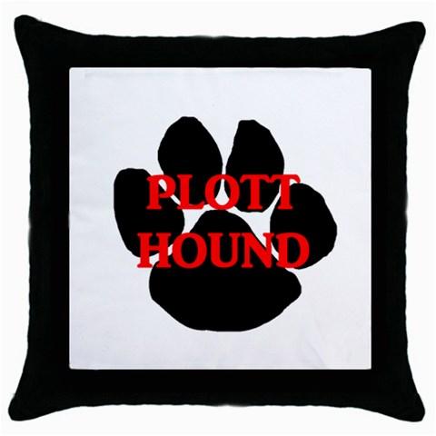 Plott Hound Name Paw Throw Pillow Case (Black)