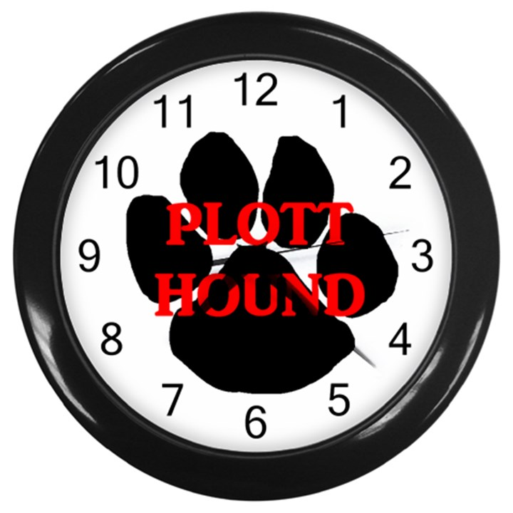 Plott Hound Name Paw Wall Clocks (Black)