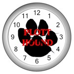 Plott Hound Name Paw Wall Clocks (Silver)  Front