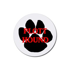 Plott Hound Name Paw Rubber Coaster (Round)