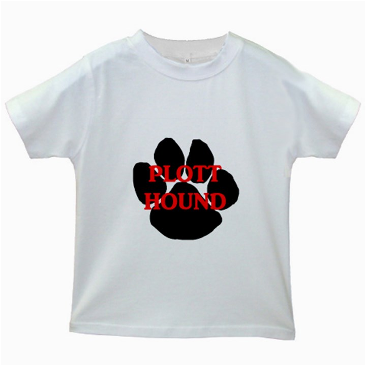 Plott Hound Name Paw Kids White T-Shirts