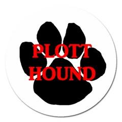 Plott Hound Name Paw Magnet 5  (Round)