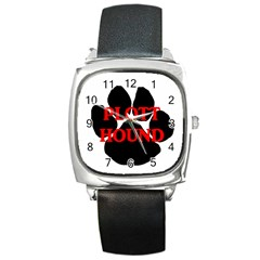 Plott Hound Name Paw Square Metal Watch
