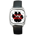 Plott Hound Name Paw Square Metal Watch Front