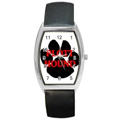 Plott Hound Name Paw Barrel Style Metal Watch