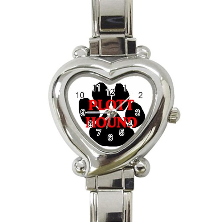 Plott Hound Name Paw Heart Italian Charm Watch