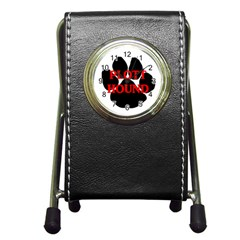 Plott Hound Name Paw Pen Holder Desk Clocks