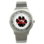 Plott Hound Name Paw Stainless Steel Watch Front