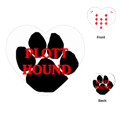 Plott Hound Name Paw Playing Cards (Heart)