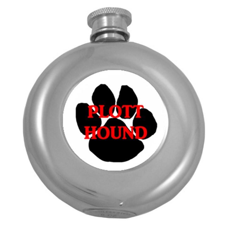 Plott Hound Name Paw Round Hip Flask (5 oz)