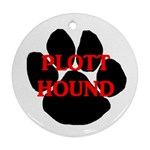 Plott Hound Name Paw Round Ornament (Two Sides)  Back