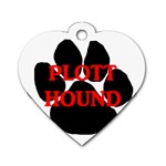 Plott Hound Name Paw Dog Tag Heart (One Side) Front