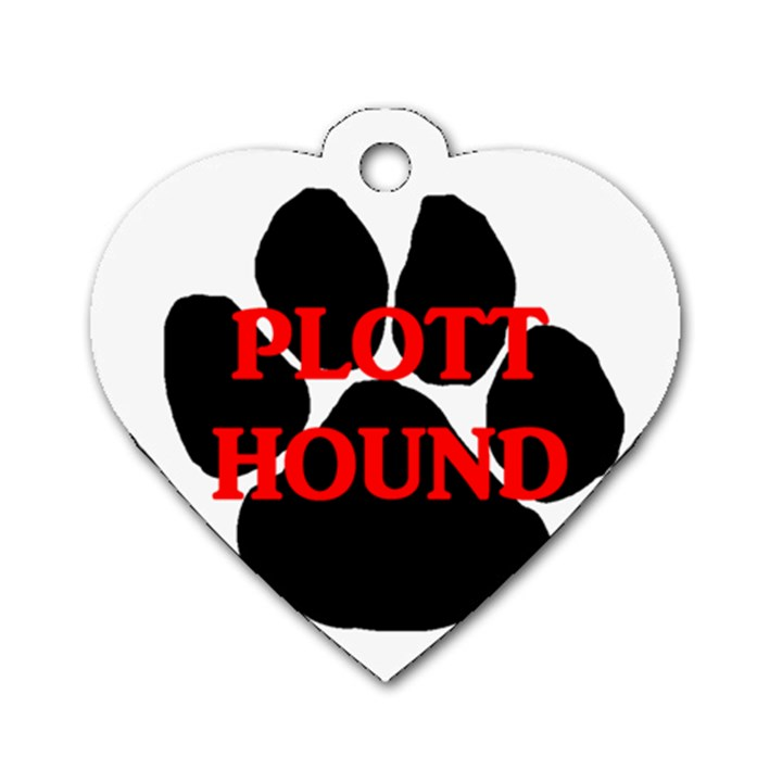 Plott Hound Name Paw Dog Tag Heart (One Side)