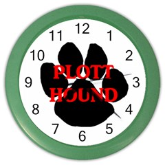 Plott Hound Name Paw Color Wall Clocks