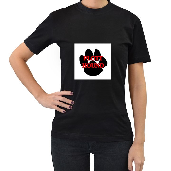 Plott Hound Name Paw Women s T-Shirt (Black)