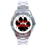 Plott Hound Name Paw Stainless Steel Analogue Watch Front