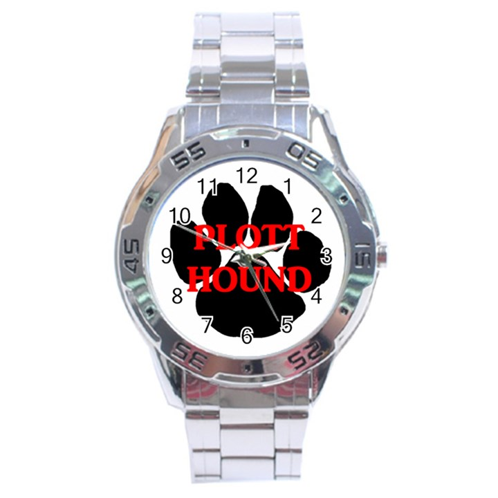 Plott Hound Name Paw Stainless Steel Analogue Watch