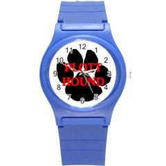 Plott Hound Name Paw Round Plastic Sport Watch (S)