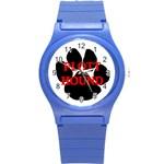 Plott Hound Name Paw Round Plastic Sport Watch (S) Front