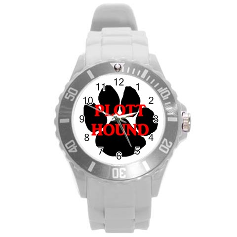 Plott Hound Name Paw Round Plastic Sport Watch (L)