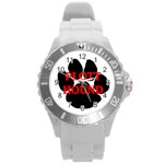 Plott Hound Name Paw Round Plastic Sport Watch (L) Front