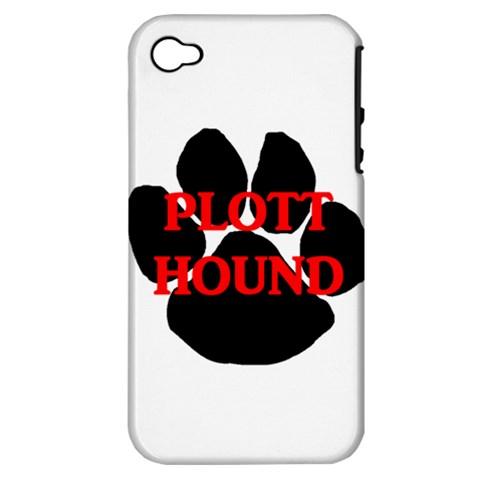 Plott Hound Name Paw Apple iPhone 4/4S Hardshell Case (PC+Silicone)