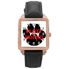 Plott Hound Name Paw Rose Gold Leather Watch